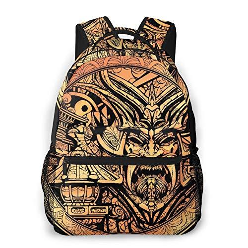 MEJX Mochila Paquete de Almacenamiento,Moneda rara de oro con la imagen de la portada de un samurái,Casual Bolsa de Estudiantes de la Escuela Mochila Portátil de Viaje