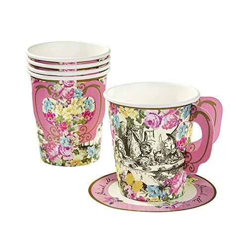 Talking Tables Truly Alice in Wonderland; Kartonnen kopjes en schotels voor theekransjes, bruiloften en verjaardagsfeestjes, gekke hoedenmacher-party, kleurrijk, 250 ml (12 per verpakking)