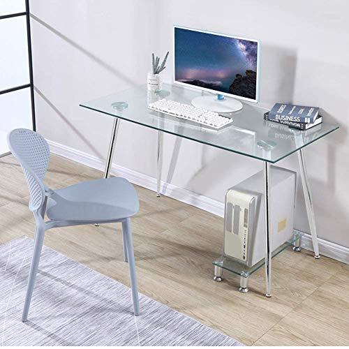 GOLDFAN - Escritorio de Cristal para Oficina Mesa de Trabajo Mesa de Esquina Rectangular con Patas de Metal Plateadas,113x70x75c