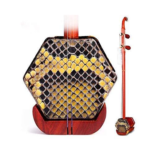 Erhu, Erhu Musikinstrument, Mahagoni-Knochen schnitzte Kupfer Shaft Erhu, Erwachsene Anfänger Musikinstrument, Hexagonal Ethnische Musikinstrument, mit Stoß- Box (Farbe: Palisander) DUZG