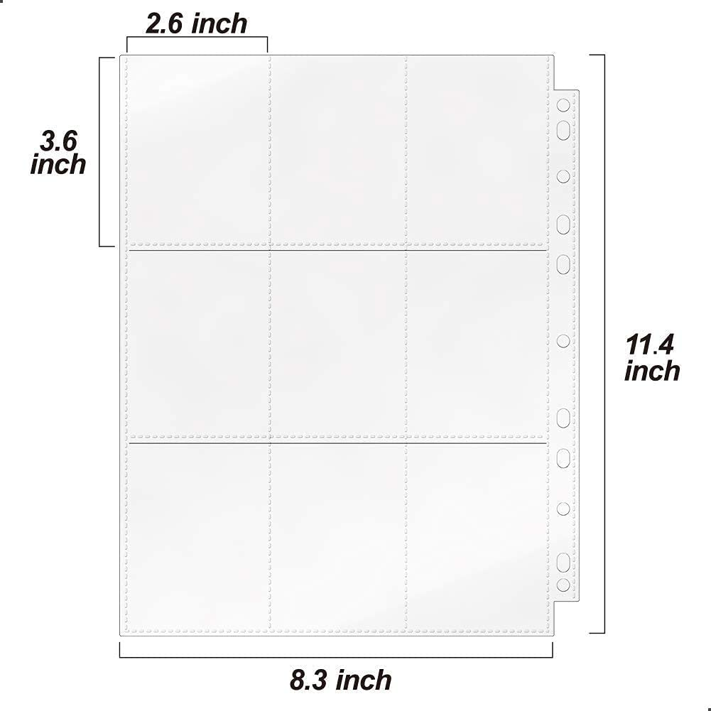 33 Pack 9-Pocket Baseball Card Sleeves for 11 Ring Binder Clear Plastic Trading Card Page Protectors Sheet