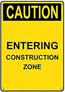 Weatherproof Plastic Vertical OSHA Caution Entering Construction Zone Sign with English Text