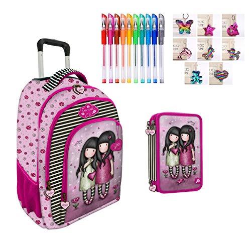 Trolley mochila escolar compatible con Santoro Gorjuss London You Can Have Mine puedes tener el corazón + estuche de 3 pisos completo + llavero con brillos + bolígrafos de colores