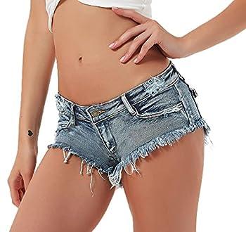 Soojun Women s Sexy Cut Off Low Waist Booty Denim Jeans Shorts Denim Blue US 4