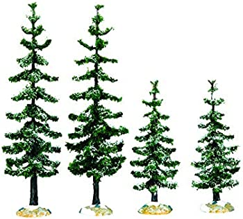 6-Pack Lemax Blue Spruce Trees Village Accessory Green Porcelain