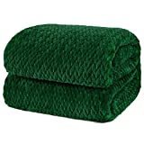 PAVILIA Luxury Flannel Fleece Blanket Throw Twin Emerald Green | Soft Decorative Jacquard Weave Microfiber Throw for Bed Sofa Couch | Velvet Textured Leaves Pattern | Lightweight Plush Warm | 60'x80'