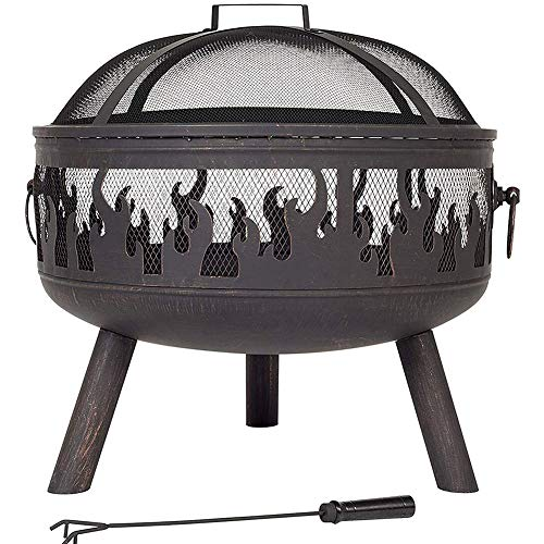 CRZJ Outdoor Fire Pit, Wildfire with Grill Firepit Firebowl Wood Burner, Villa Courtyard Wildfire Brazie