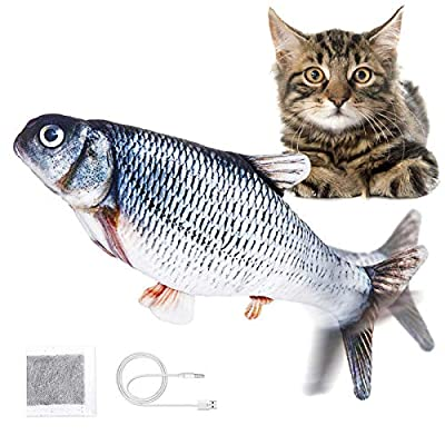 Jeteven Catnip Fish Toys for Cats, Plush Electric Wagging Fish with USB charge Simulation Toy Fish, Indoor Funny Interactive Pillow Fish Blue