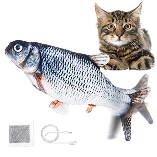 Jeteven Elektrisch Spielzeug Fisch, Katzenminze Fisch Spielzeug, Katze Interaktive Spielzeug mit USB, Simulation Plush Fisch, für Katze, Kitty Spielt, Bei?t, Kaut und Tritt, Karpfen