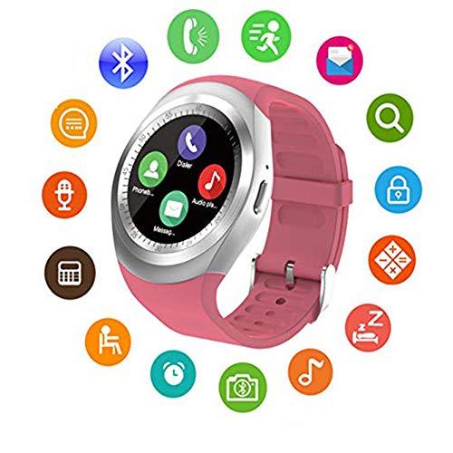 Y1 Smart Uhr, Bluetooth Touch-Screen-Uhr-Telefon unterstützt SIM-TF-Karte, Fitness-Tracker, mit Pedometer/Musik/Schlafüberwachung für Männer und Frauen, Android und iOS (DREI Farben optional)