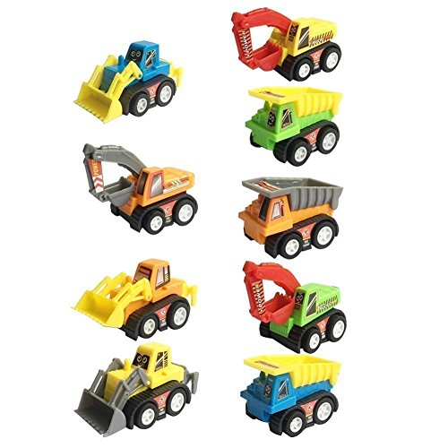 Construction Vehicles Pull Back Car Toy for Boys Toddler Racing Game Excavator Bulldozer Dumper Truck Mini Engineering Toys Halloween Party Decoration Stocking Fillers (Color Random)
