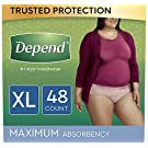 Depend FIT-FLEX Incontinence Underwear for Women, Disposable, Maximum Absorbency, XL, Blush, 48 Count (2 Packs of 24) (Packaging May Vary)