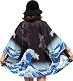 DOVWOER - Kimono con maniche a 3/4, casual, leggero Nero Taglia unica...