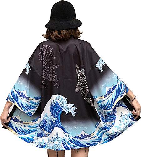 DOVWOER Sommer Damen Kimono Cardigan Strand Bikini Cover Up 3/4 Arm Lose Casual Leichte Jacke, Schwarz, ONe Size(EU 36-46)