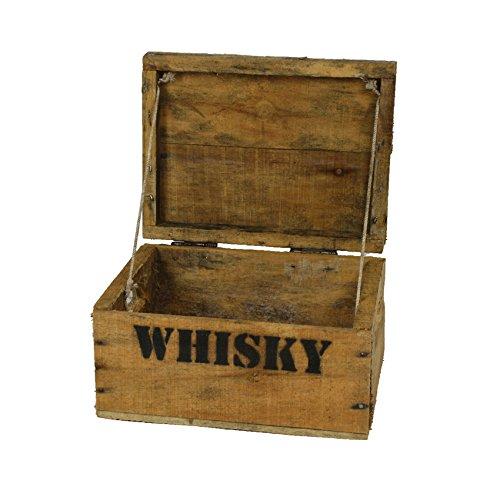 haus-garten-versand.de Whisky Holzkiste, Mini (21x27x14,5cm), Vintage, Weinkiste, Obstkiste mit Deckel und Aufdruck
