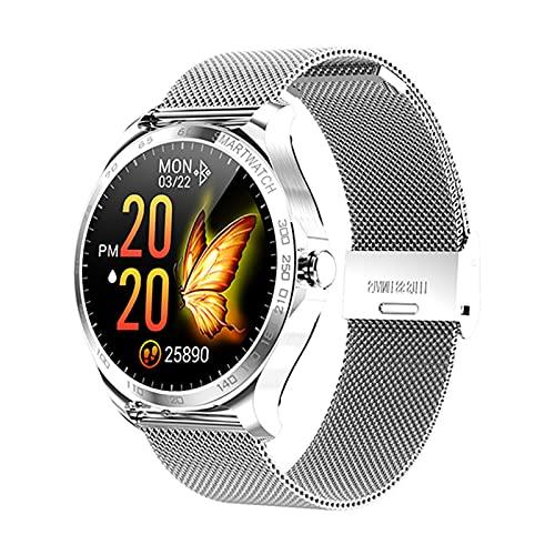 ACONAG Smart Watch Men Pantalla táctil Completa Deportes SmartWatch IP68 Impermeable Fitness Track Rastro del corazón Reloj de monitoreo (Color : Mesh Silver)