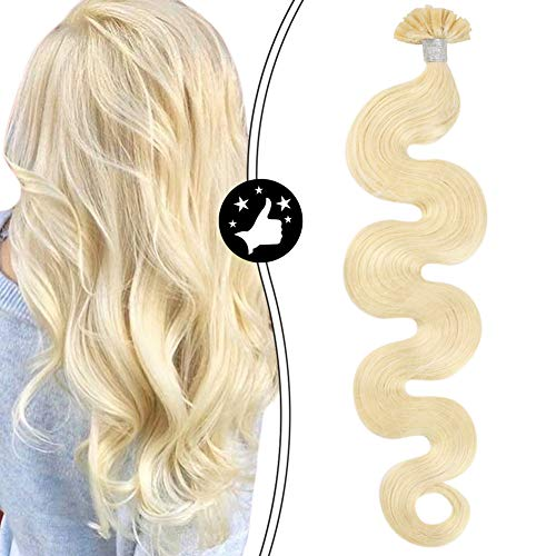 Moresoo 16 Inch Pre Bonded Hair Extensions U Tip Human Hair Extensions Body Wave Color #613 Bleach Blonde Hair Extensions Hot Fusion Extensions Keratin Glue Hair Extensions 50s 50g