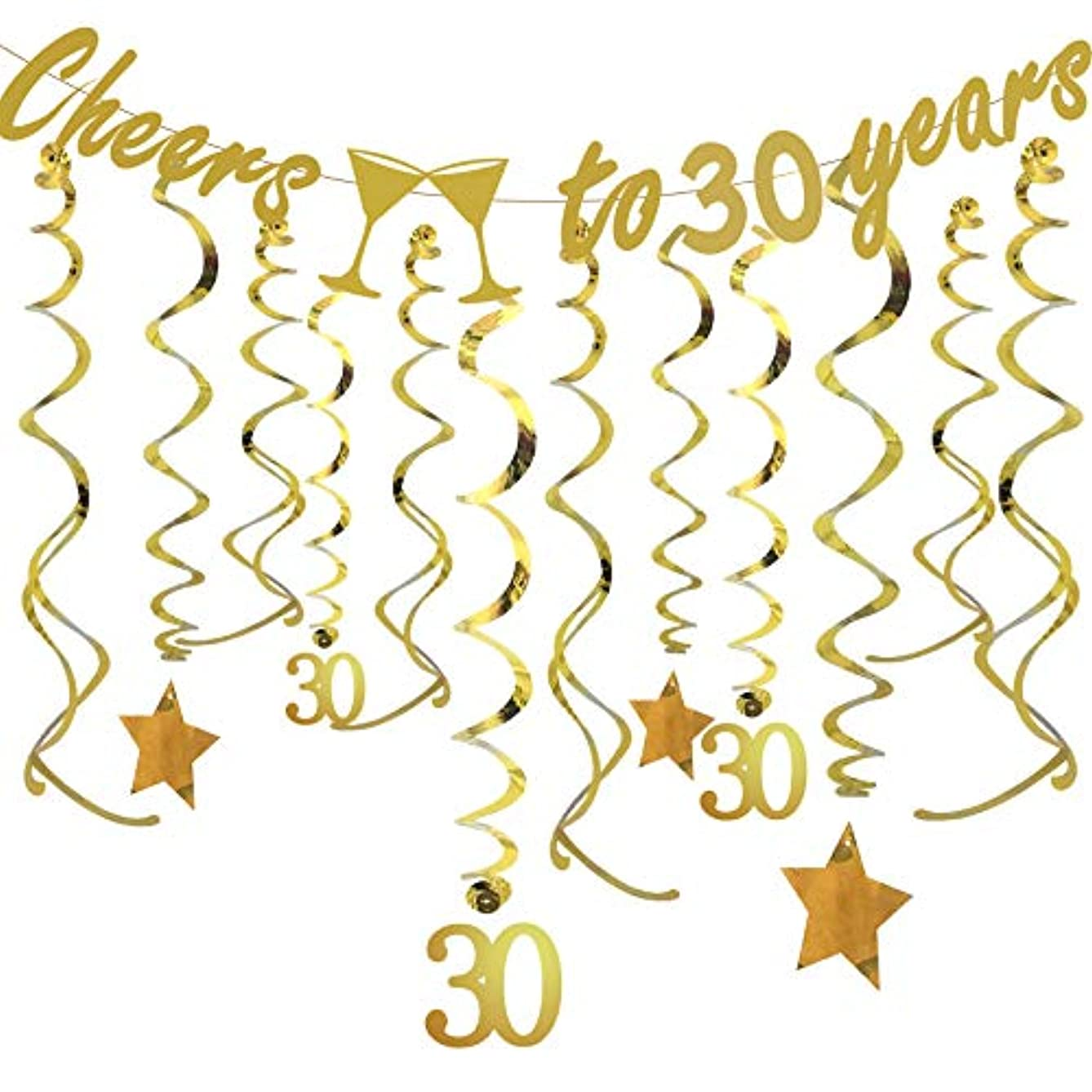 Gold 30th Birthday Party Decorations KIT - Cheers to 30 Years Banner, Sparkling Celebration 30 Hanging Swirls, Perfect 30 Years Old Party Supplies 30th Anniversary Decorations