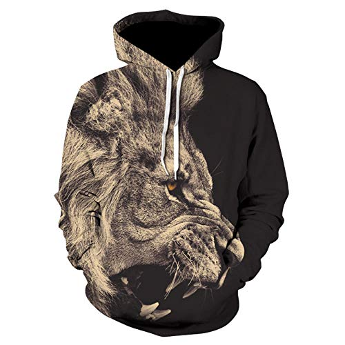Hoodies Autumn Winter Lovers Teen Unisex Jumpers Tops Casual Pullover Long Sleeve Pockets Funny Animal lion 3D Print S-6Xl