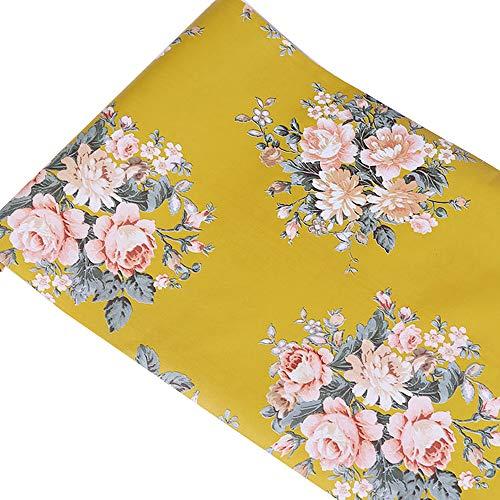 Yifely Vintage Peony Floral Shelving Paper Dark Yellow Peel & Stick Shelf Liner...