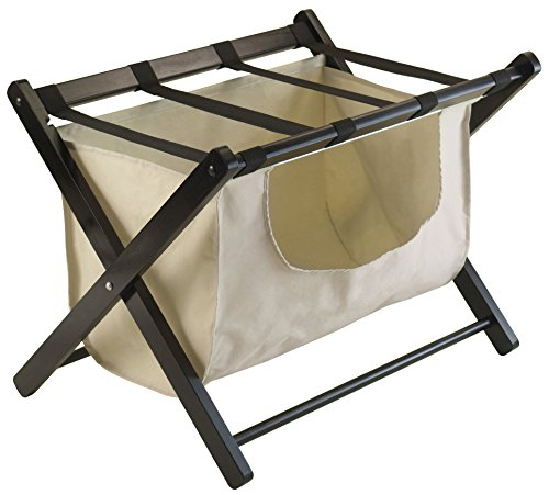 Amazing Deal Winsome Wood Dora Luggage Rack with Removable Fabric Basket