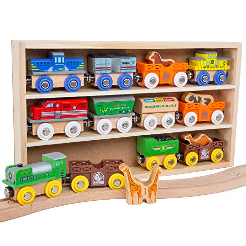 Orbrium Toys 12 (18 Pcs) Wooden Engines & Train Cars Collection with Animals, Farm Safari Zoo Wooden Animal Train Cars, Circus Wooden Train Compatible with Thomas, Brio, Chuggington