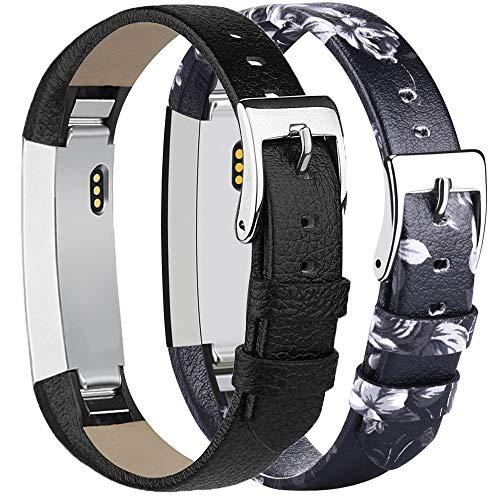 Tobfit Kompatibel mit Fitbit Alta HR Armband, Fitbit Alta Armband Lederarmband Edelstahl Schnalle Ersatzarmbänder für Fitbit Alta und Fitbit Alta HR (Kein Tracker) (*Schwarz & Grau Blume)