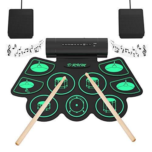 Batterie Elettroniche Portatili Touch-up Sensibile Al tocco Digitale Kit di Batteria 9 Drum Pads 2 Pedali Principianti per Bambini - Uverbon