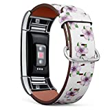 Compatible with Fitbit Charge 2, Replacement Leather Bracelet Wristband Strap + Adapters [ Apple Tree Flowers Petals Leaves ]