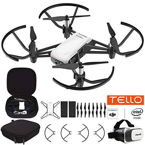 DJI Tello Quadcopter Beginner Drone VR HD Video Bundle with Tello Spare Battery, Custom Tello Protective Carrying Case and VR Viewer for 3.5 Inches