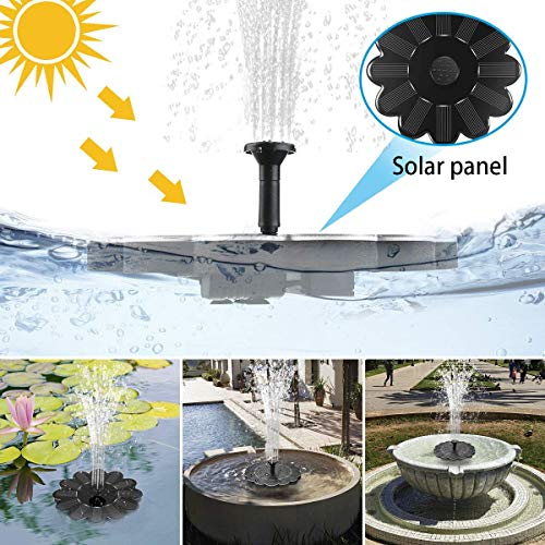 Solar Water Fountain for Bird Bath, Solar Fountain Water Pumps Freestanding Submersible for Small Pond,Fish Tank, Patio, Garden Decoration 1.4 W Solar Panel Water Pump Kit, Solar Pond Pump (AS80)