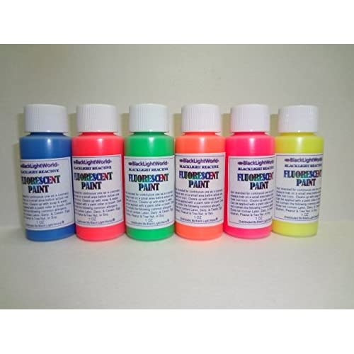 Amazon.com: Black Light Reactive Paint Fluorescent 1oz 6 Pack (Red ...