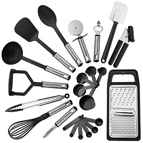 Lux Decor Kitchen Utensils Set, 23 Pieces Nylon and Stainless Steel Kitchen Utensils, Non-Stick and Heat Resistant Cooking Utensils Set, Useful Kitchen Tools and Gadgets