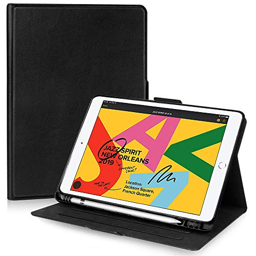 FYY iPad 10.2 Case 8th Gen (2020)/7th Gen (2019), iPad 10.2 2019 2020 Case with Pencil Holder Luxury Cowhide Genuine Leather Handcrafted Case Cover with [Auto Sleep-Wake Function] Black