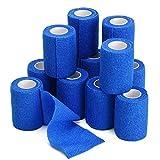 TOBWOLF 12PCS Self Adherent Bandage, 3'x5yd / 7.5cmx4.5m Elastic Cohesive Bandage Wrap Athletic Tape, Non Woven Bandage Rolls for Wrist Ankle Knee Leg Sprains Swelling - Navy Blue
