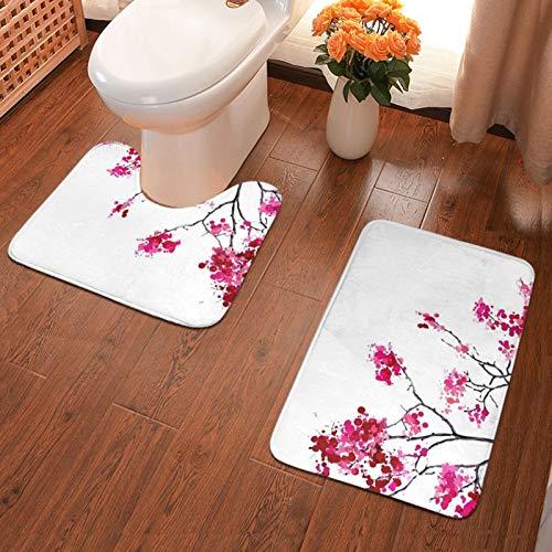 John J Littlejohn Non Slip Japanese Sakura Tree1 Bathroom Antiskid Pad Bathmat Waterproof Bath Carpet 2 Pieces Bath Mat + Contour