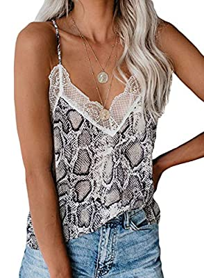 Sidefeel Women V Neck Lace Strappy Print Tank Top Sleeveless Blouse Large Multicolor