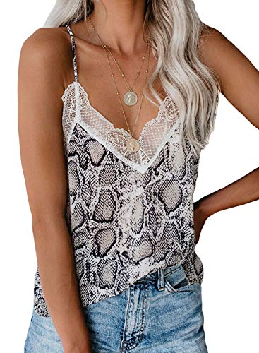 Sidefeel Women V Neck Lace Strappy Print Tank Top Sleeveless Blouse XL Multicolor