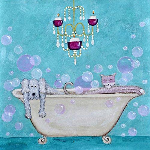 Greetings Card ansichtkaart dieren in badkuip, 15 x 15 cm, blauw