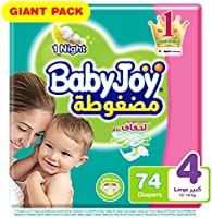 Babyjoy Compressed Diamond pad Diaper, Giant Pack Large Size 4, Count 74, 10 - 18 KG