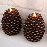 Wondise Pine Cone Flameless Flickering Candles with 6 Hour Timer, Set of 2 Battery Operated LED Moving Wick Real Wax Christmas Decoration Candles(3.5 x 4.7 Inches, Brown)