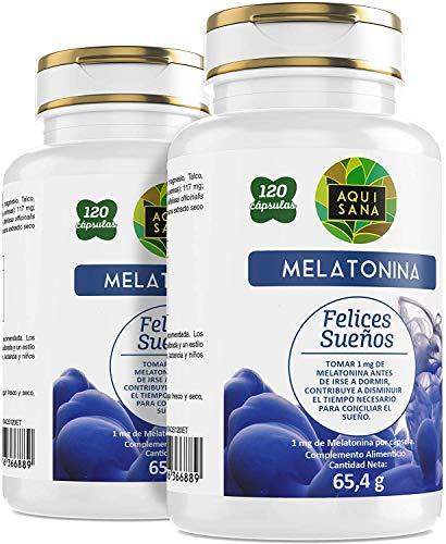 Melatonina 240 Cápsulas  Melatonia+Valeriana+Tila+Pasiflora  Ayuda a Conciliar el Sueño  Mejor Descanso   Aquisana