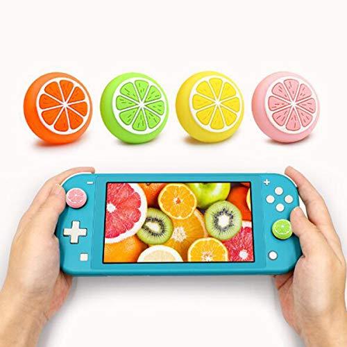 GEEMEE 4PCS Joystick-Kappe für Nintendo Switch/Joy-Con/Switch Lite Controller Cap,Silikonhülle rutschfest Joystick Daumengriffkappen - Lemon