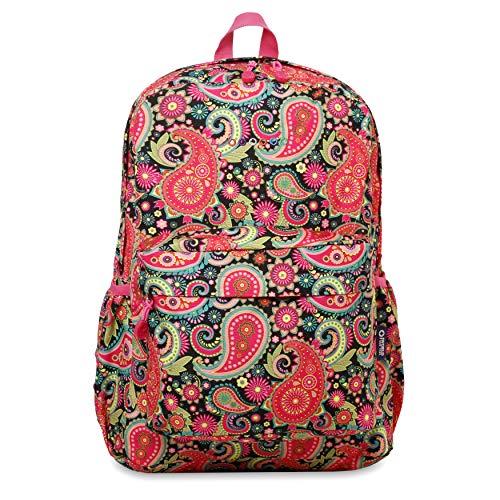 J World New York Oz Womens School Backpack. Girls Cute Laptop Bookbag, CLASSIC PAISLEY, One Size