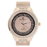 Celebrity Rapper 腕時計 – 最高のヒップホップ 豪華 キラキラ光るファッションスタイル アイスルック ダブルダイヤル アイスアウトルック – 8623W メッシュローズゴールド。