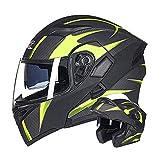 Casco modular de motocicleta Unisex Textura de fibra de carbono Casco integral Casco abatible Personalidad adulta Cascos de cercanías con doble lente 4 estaciones Casco de protección,B,63~64cm XXL