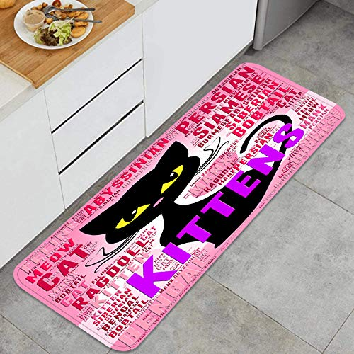 TTLUCKY Juegos de alfombras de Cocina Multiusos,Gatitos Palabras mostrando Mascota Gato doméstico,Alfombrillas cómodas para Uso en el Piso de Cocina súper absorbentes y Antideslizantes
