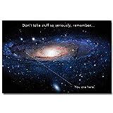 VVSUN Vía Láctea Espacio Universo Cita Motivacional Divertida Educación Arte Impresión de póster de Seda Aula Moderna Imagen de decoración del hogar 60x80cm Sin Marco