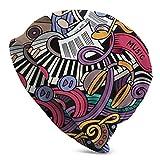 AEMAPE Música con Temas Dibujados a Mano Instrumentos Abstractos Micrófono Tambores Teclado Stradivarius Beanie Cap Gorro de Punto Gorro de Calavera Pullover Cap