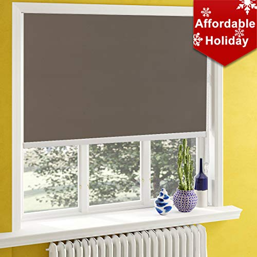 Keego Blackout Shades and Blinds for Bedroom, Waterproof Roller Shades for Bathroom, Provide Privacy Room Darkening for Living Room/Nursery/Kitchen/Office [Light Brown 100% Blackout,W27xH72(Inch)]